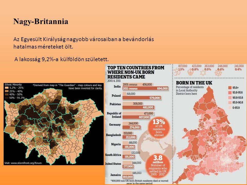 Nagy-Britannia Az Egyesült Királyság nagyobb városaiban a bevándorlás hatalmas méreteket ölt.