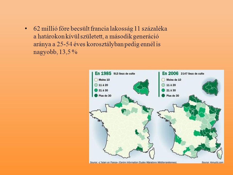 62 millió főre becsült francia lakosság 11 százaléka a határokon kívül született, a második generáció aránya a 25-54 éves korosztályban pedig ennél is nagyobb, 13,5 %