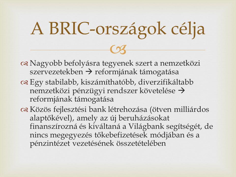 A BRIC-országok célja Nagyobb befolyásra tegyenek szert a nemzetközi szervezetekben  reformjának támogatása.