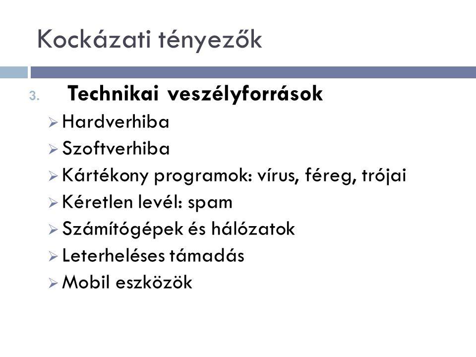 Kockázati tényezők Technikai veszélyforrások Hardverhiba Szoftverhiba