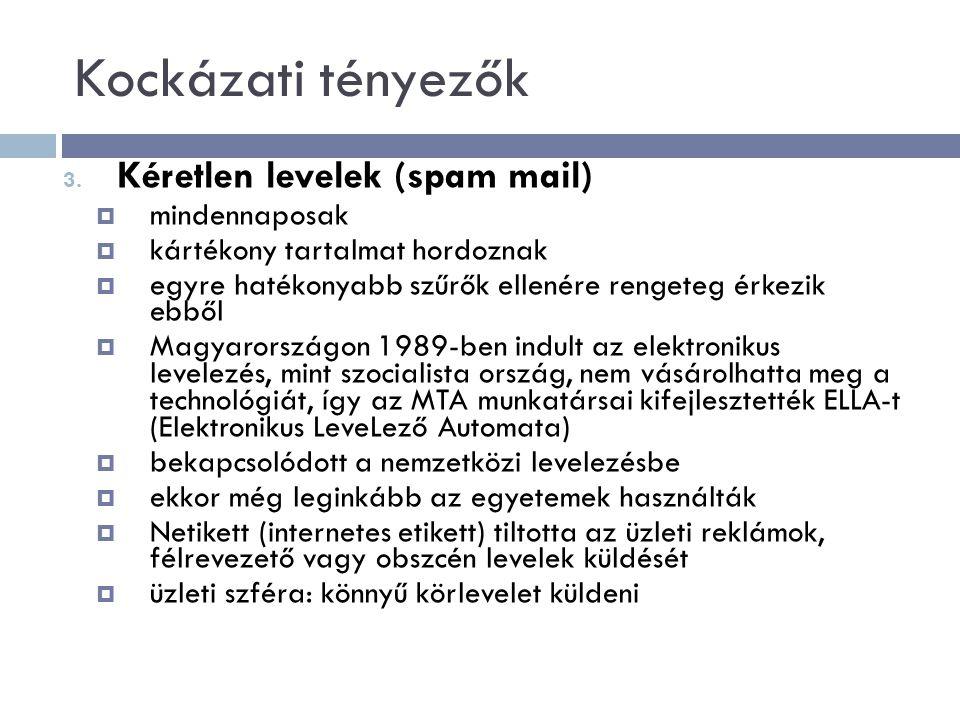 Kockázati tényezők Kéretlen levelek (spam mail) mindennaposak