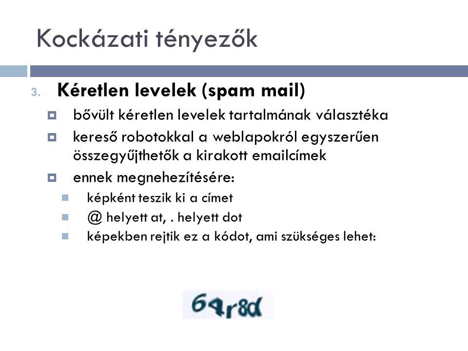 Kockázati tényezők Kéretlen levelek (spam mail)