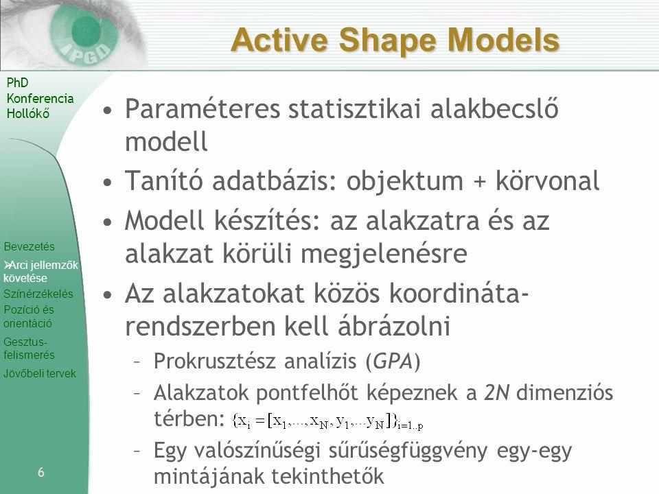 Active Shape Models Paraméteres statisztikai alakbecslő modell