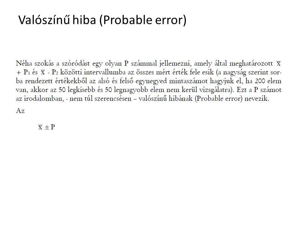 Valószínű hiba (Probable error)