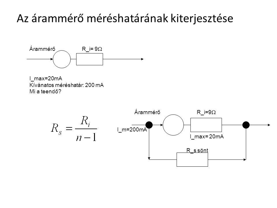 Az árammérő méréshatárának kiterjesztése