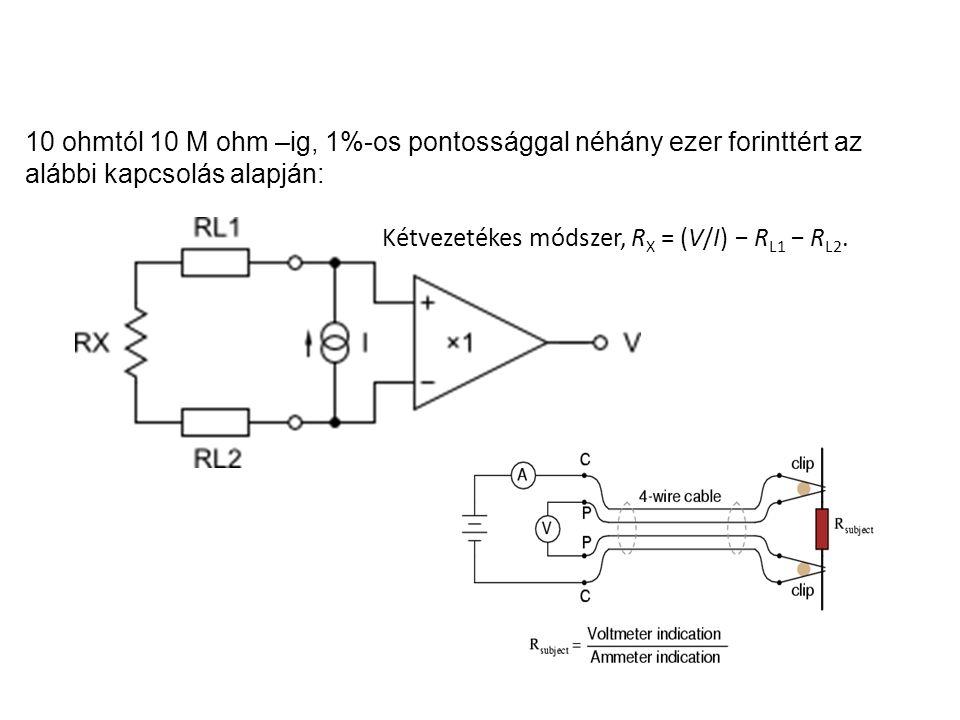 Kétvezetékes módszer, RX = (V/I) − RL1 − RL2.