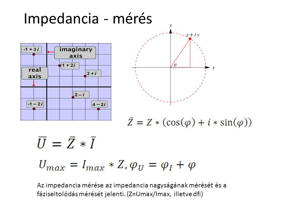 Impedancia - mérés Az impedancia mérése az impedancia nagyságának mérését és a fáziseltolódás mérését jelenti.