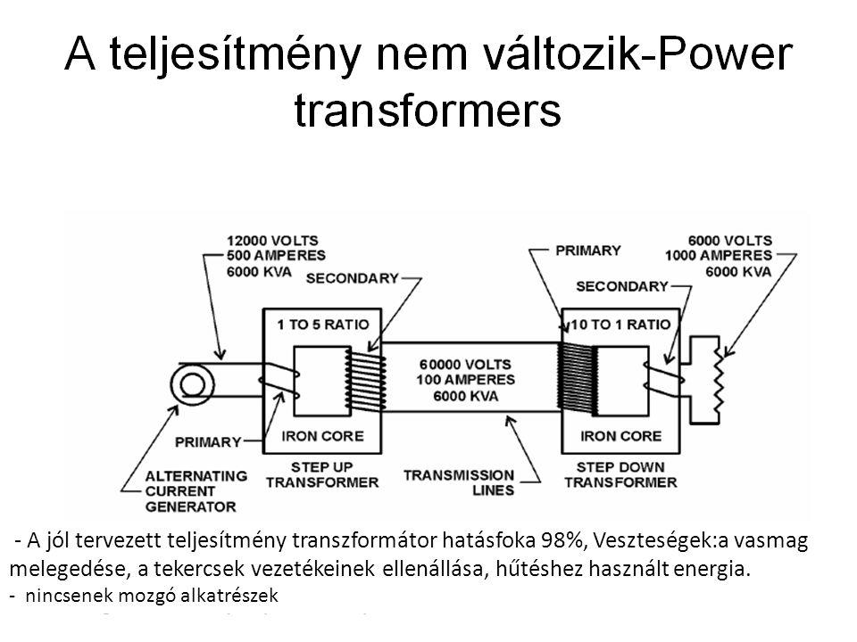 - A jól tervezett teljesítmény transzformátor hatásfoka 98%, Veszteségek:a vasmag melegedése, a tekercsek vezetékeinek ellenállása, hűtéshez használt energia.