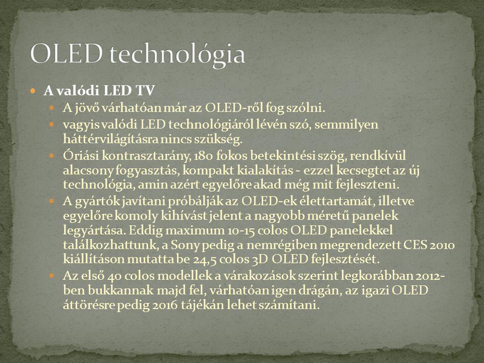 OLED technológia A valódi LED TV