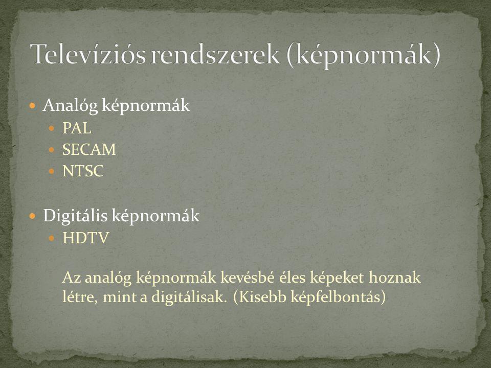 Televíziós rendszerek (képnormák)