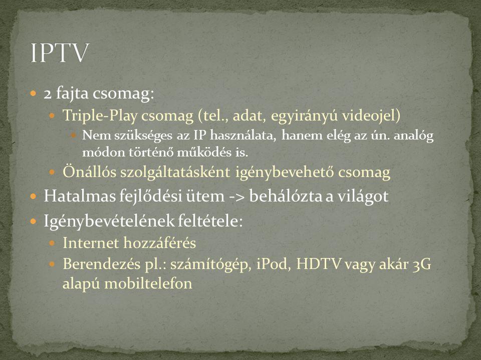 IPTV 2 fajta csomag: Hatalmas fejlődési ütem -> behálózta a világot