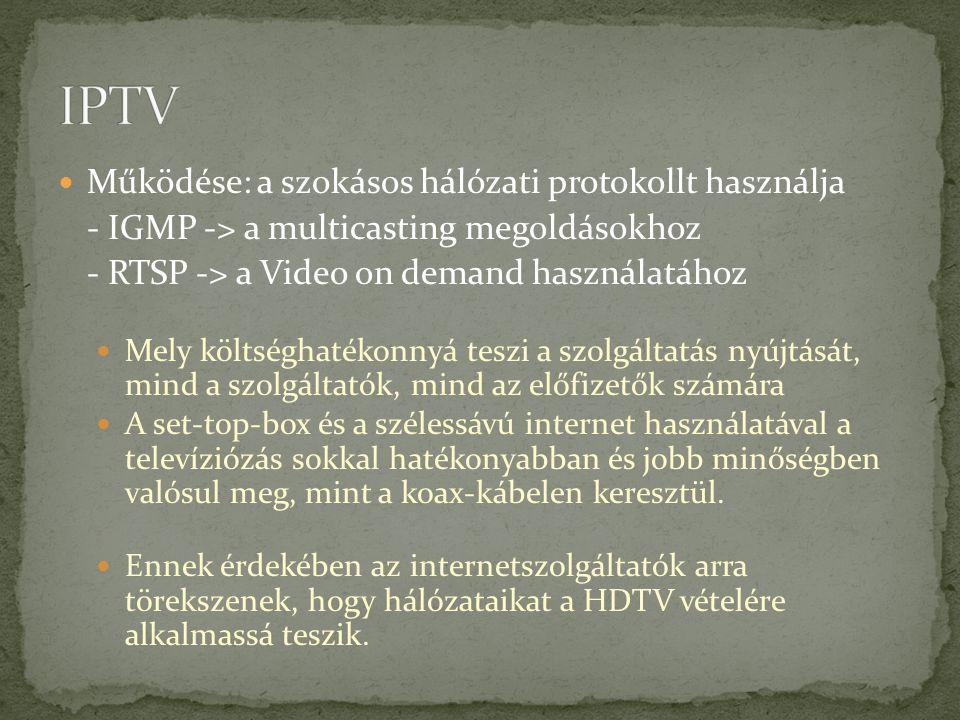 IPTV Működése: a szokásos hálózati protokollt használja