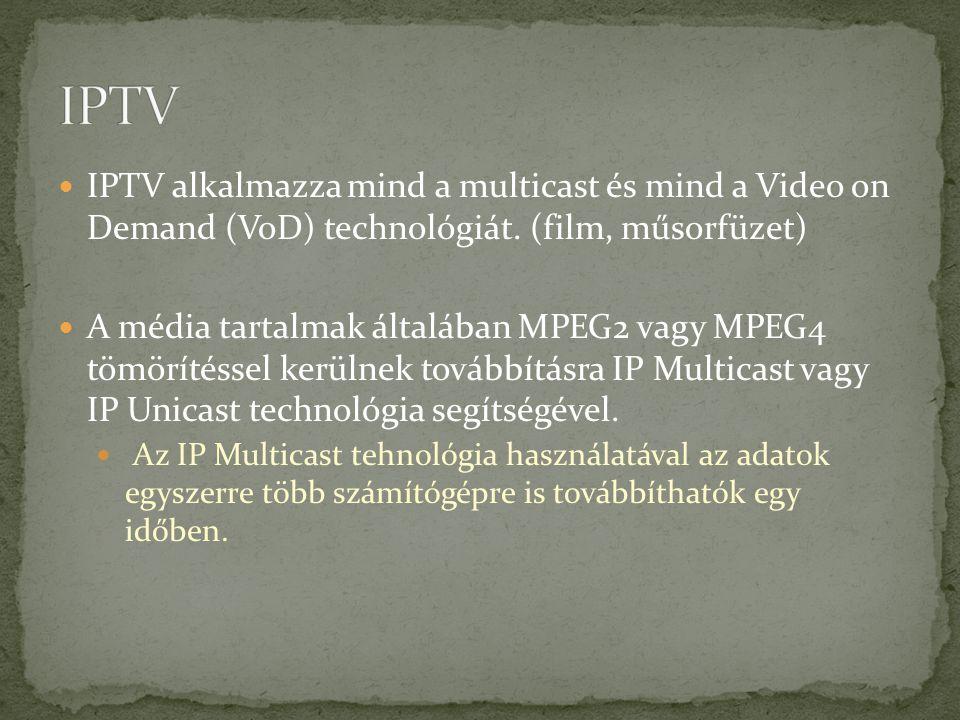 IPTV IPTV alkalmazza mind a multicast és mind a Video on Demand (VoD) technológiát. (film, műsorfüzet)