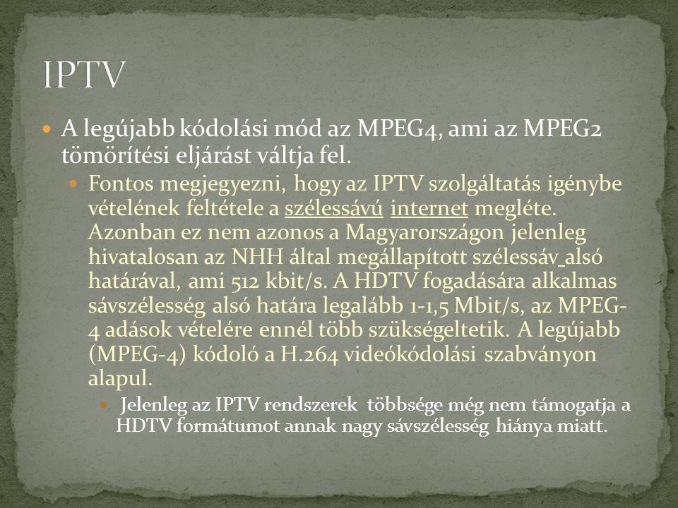 IPTV A legújabb kódolási mód az MPEG4, ami az MPEG2 tömörítési eljárást váltja fel.