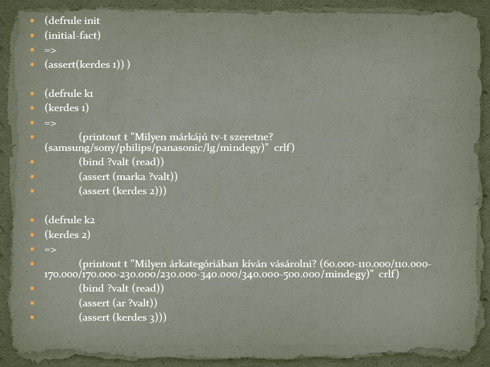 (defrule init (initial-fact) => (assert(kerdes 1)) ) (defrule k1. (kerdes 1)