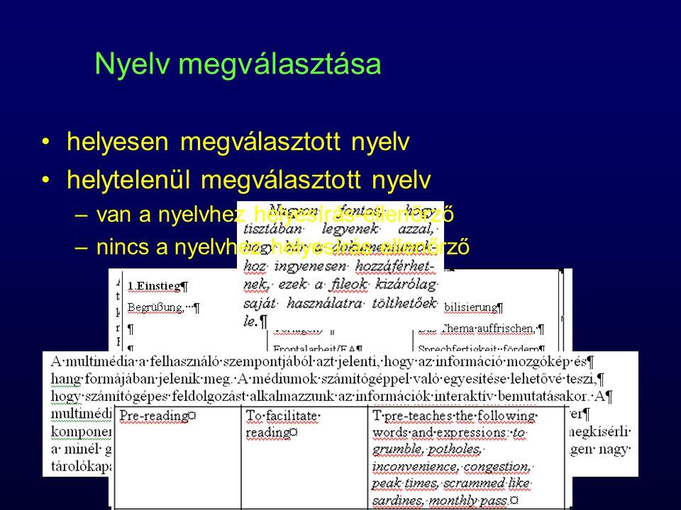 Nyelv megválasztása helyesen megválasztott nyelv