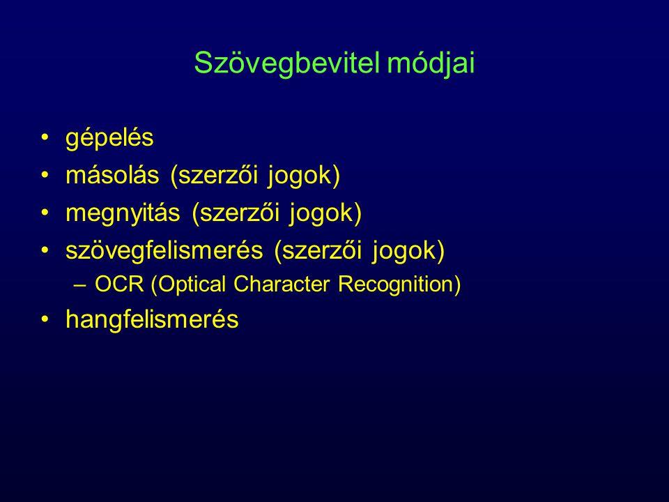 Szövegbevitel módjai gépelés másolás (szerzői jogok)