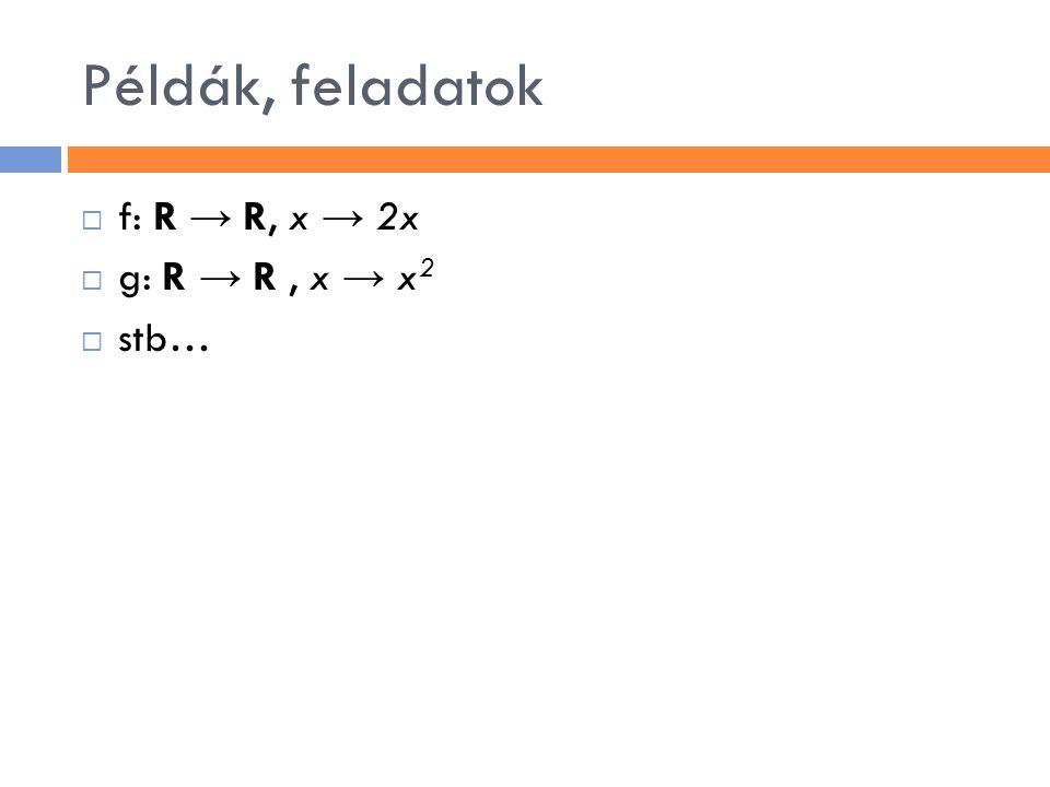 Példák, feladatok f: R → R, x → 2x g: R → R , x → x2 stb…