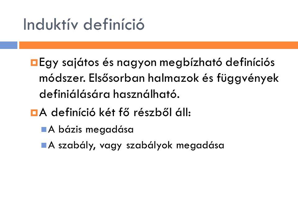 Induktív definíció Egy sajátos és nagyon megbízható definíciós módszer. Elsősorban halmazok és függvények definiálására használható.