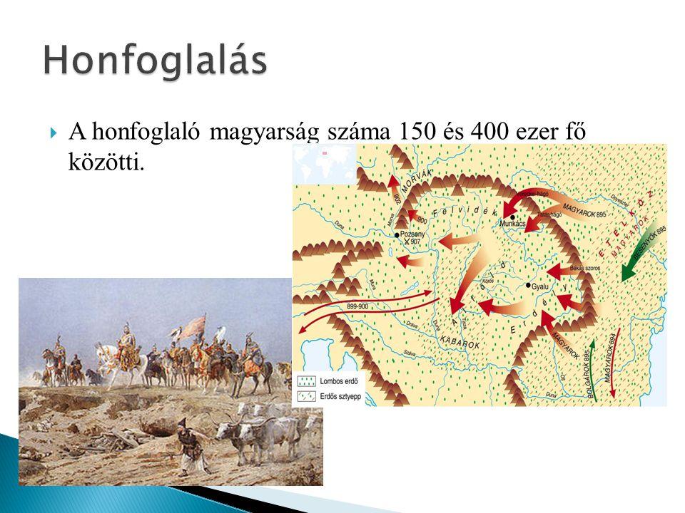 Honfoglalás A honfoglaló magyarság száma 150 és 400 ezer fő közötti.