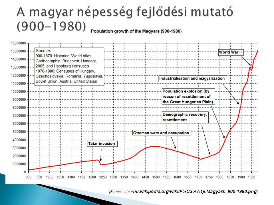 A magyar népesség fejlődési mutató (900-1980)