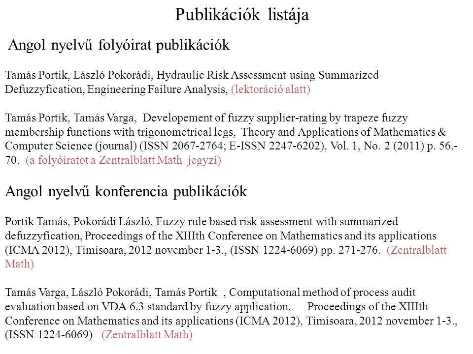 Publikációk listája Angol nyelvű konferencia publikációk