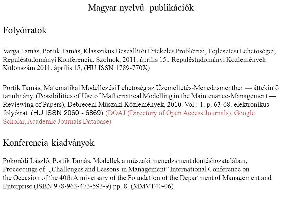 Magyar nyelvű publikációk