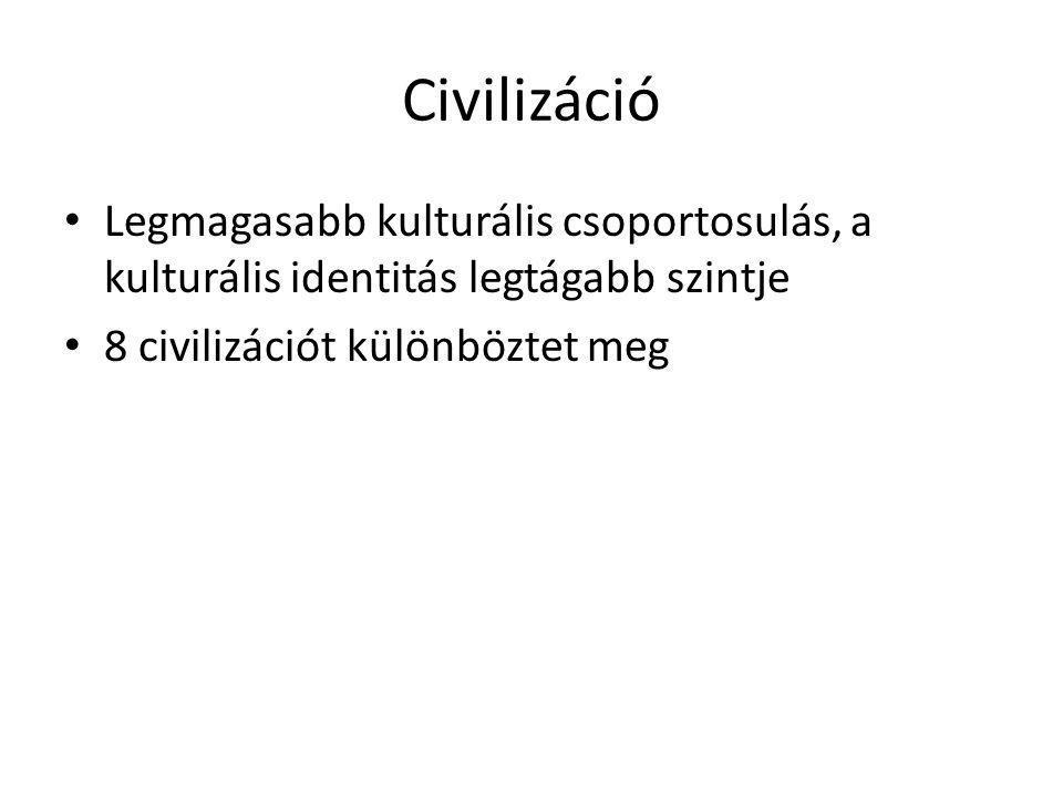 Civilizáció Legmagasabb kulturális csoportosulás, a kulturális identitás legtágabb szintje.