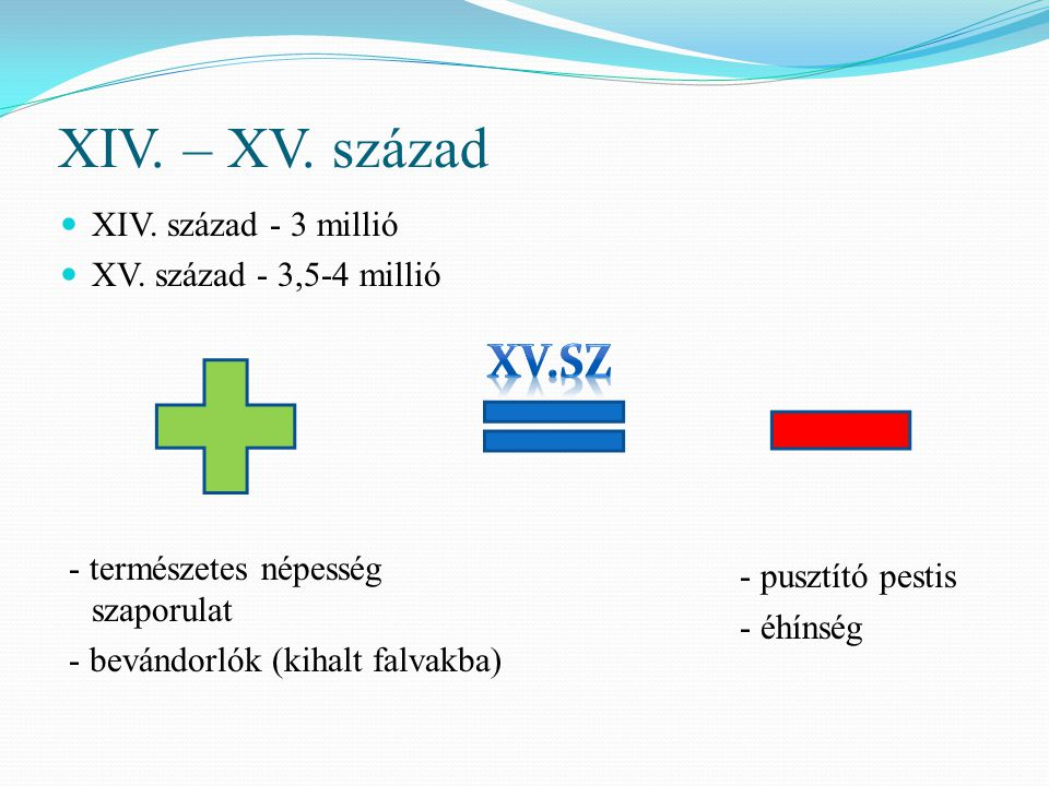 XIV. – XV. század XV.sz XIV. század - 3 millió