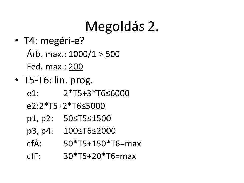 Megoldás 2. T4: megéri-e T5-T6: lin. prog. Árb. max.: 1000/1 > 500