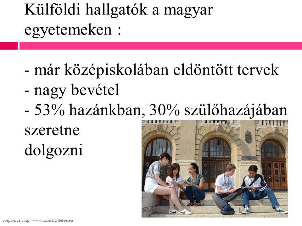 Külföldi hallgatók a magyar egyetemeken : - már középiskolában eldöntött tervek - nagy bevétel - 53% hazánkban, 30% szülőhazájában szeretne dolgozni