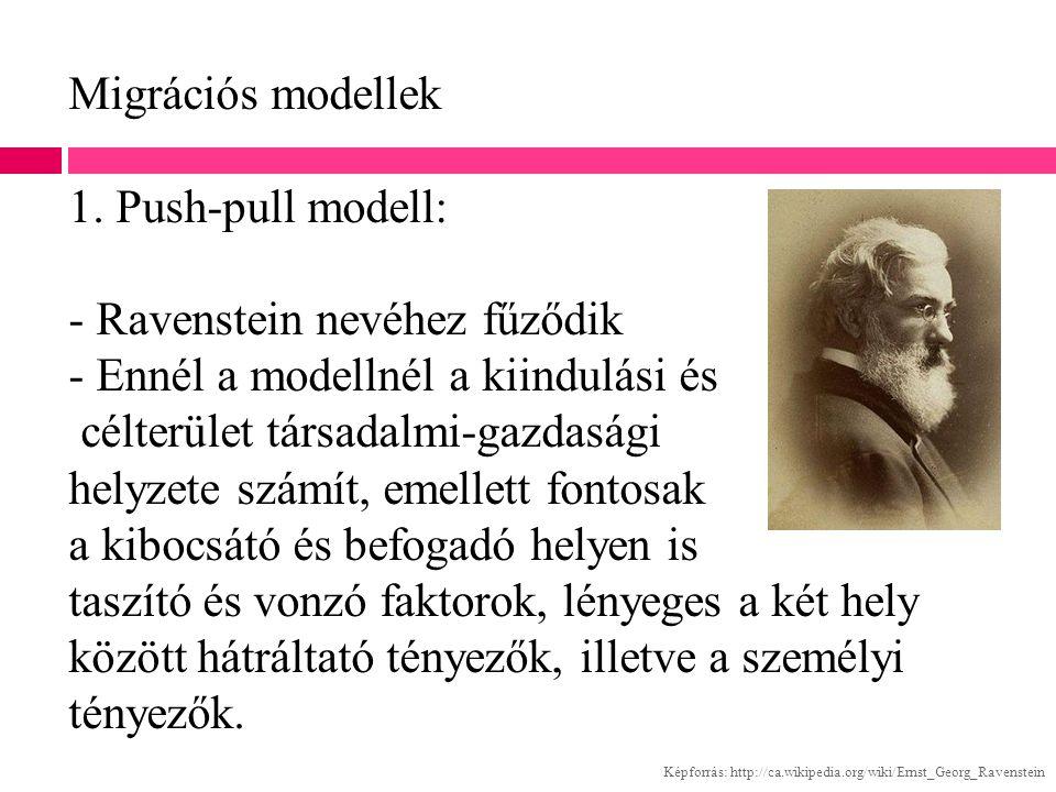 Migrációs modellek 1. Push-pull modell: - Ravenstein nevéhez fűződik - Ennél a modellnél a kiindulási és célterület társadalmi-gazdasági helyzete számít, emellett fontosak a kibocsátó és befogadó helyen is taszító és vonzó faktorok, lényeges a két hely között hátráltató tényezők, illetve a személyi tényezők.