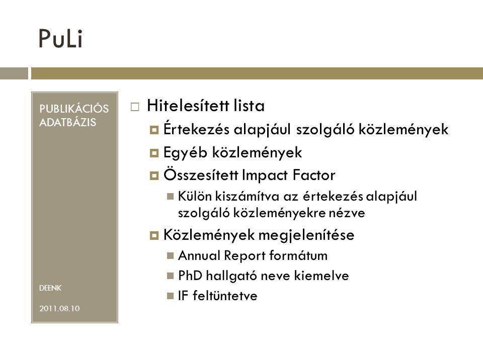 PuLi Hitelesített lista Értekezés alapjául szolgáló közlemények