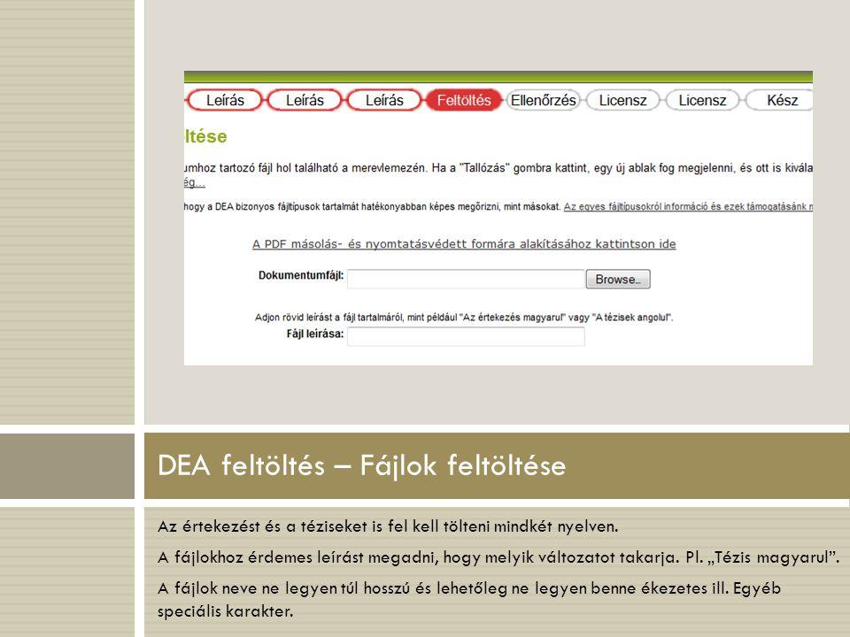 DEA feltöltés – Fájlok feltöltése