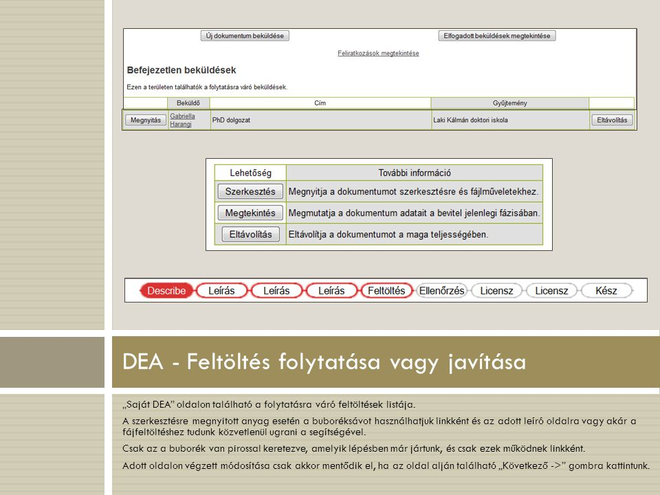 DEA - Feltöltés folytatása vagy javítása