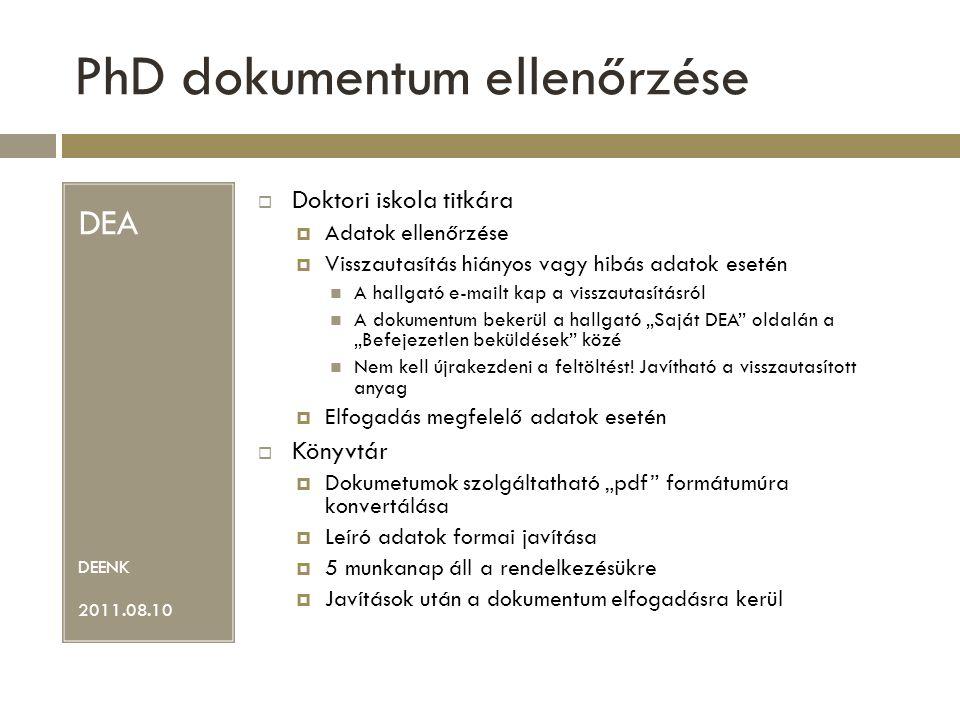 PhD dokumentum ellenőrzése