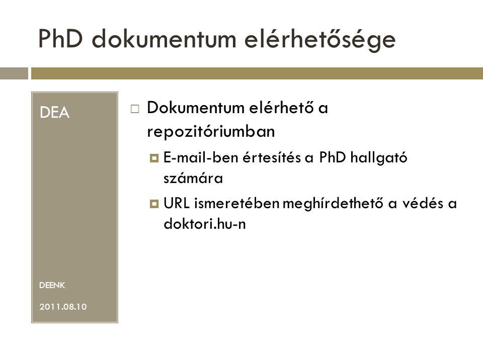PhD dokumentum elérhetősége