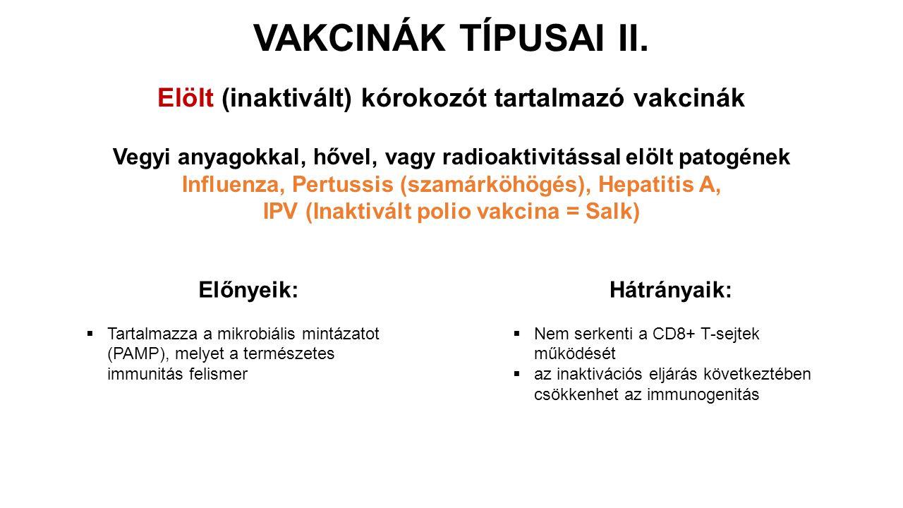 VAKCINÁK TÍPUSAI II. Elölt (inaktivált) kórokozót tartalmazó vakcinák