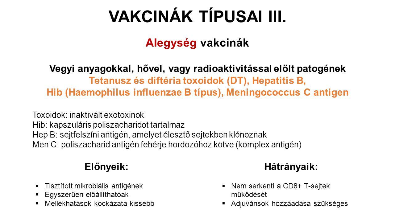 VAKCINÁK TÍPUSAI III. Alegység vakcinák