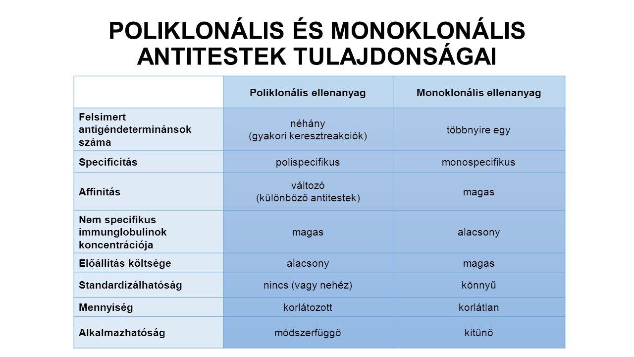 POLIKLONÁLIS ÉS MONOKLONÁLIS ANTITESTEK TULAJDONSÁGAI