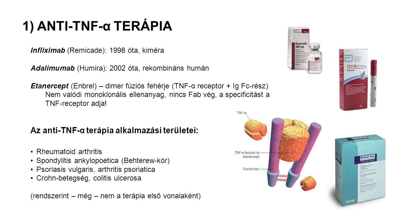 1) ANTI-TNF-α TERÁPIA Az anti-TNF-α terápia alkalmazási területei: