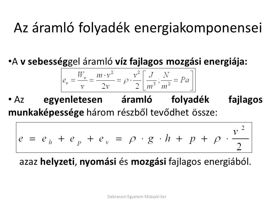 Az áramló folyadék energiakomponensei
