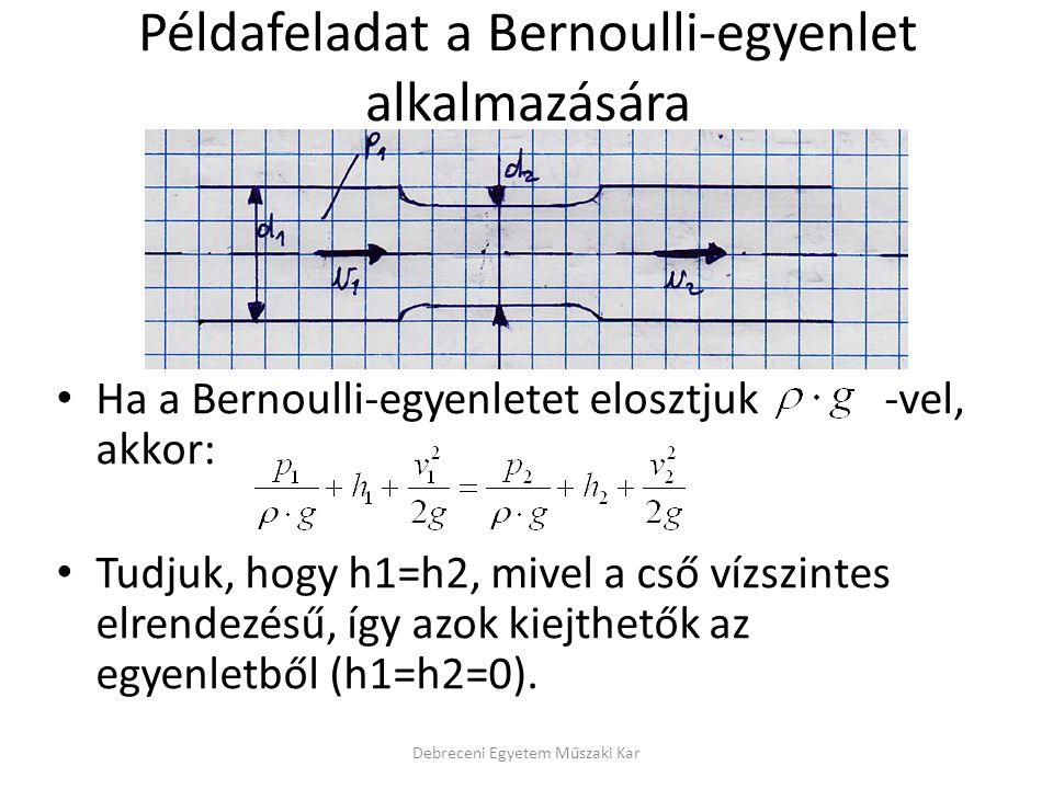 Példafeladat a Bernoulli-egyenlet alkalmazására