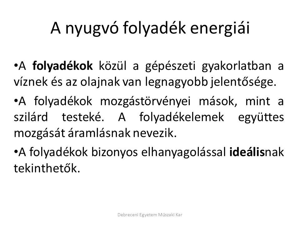 A nyugvó folyadék energiái