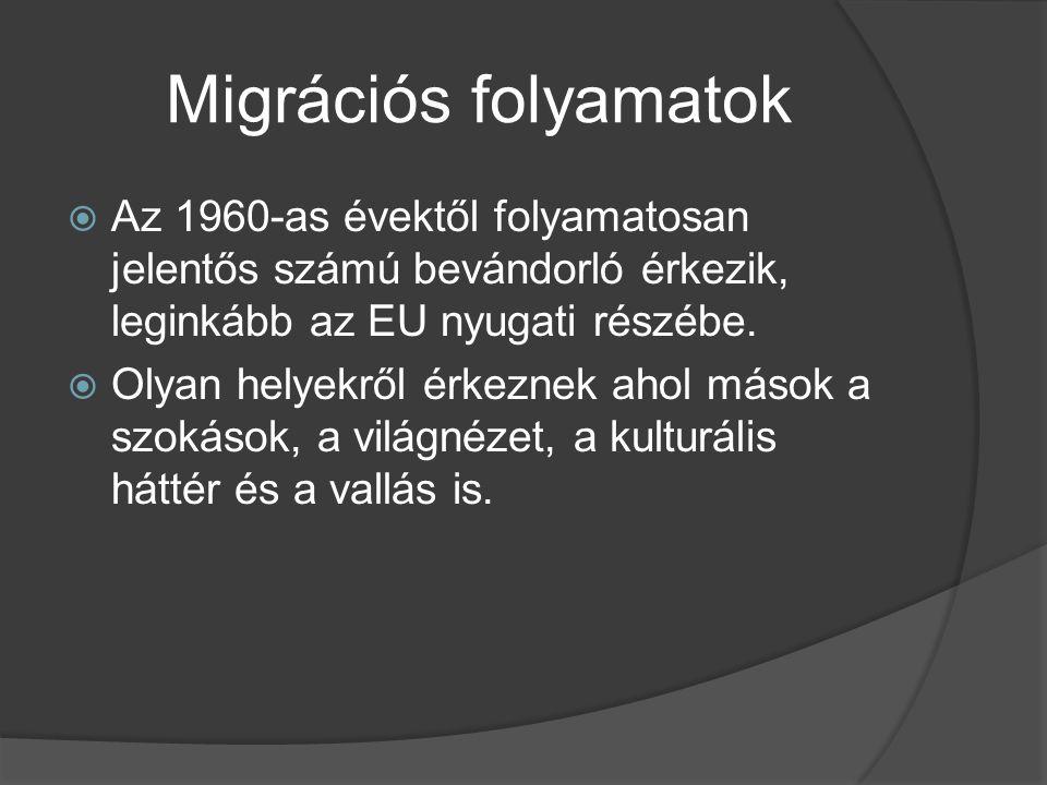 Migrációs folyamatok Az 1960-as évektől folyamatosan jelentős számú bevándorló érkezik, leginkább az EU nyugati részébe.