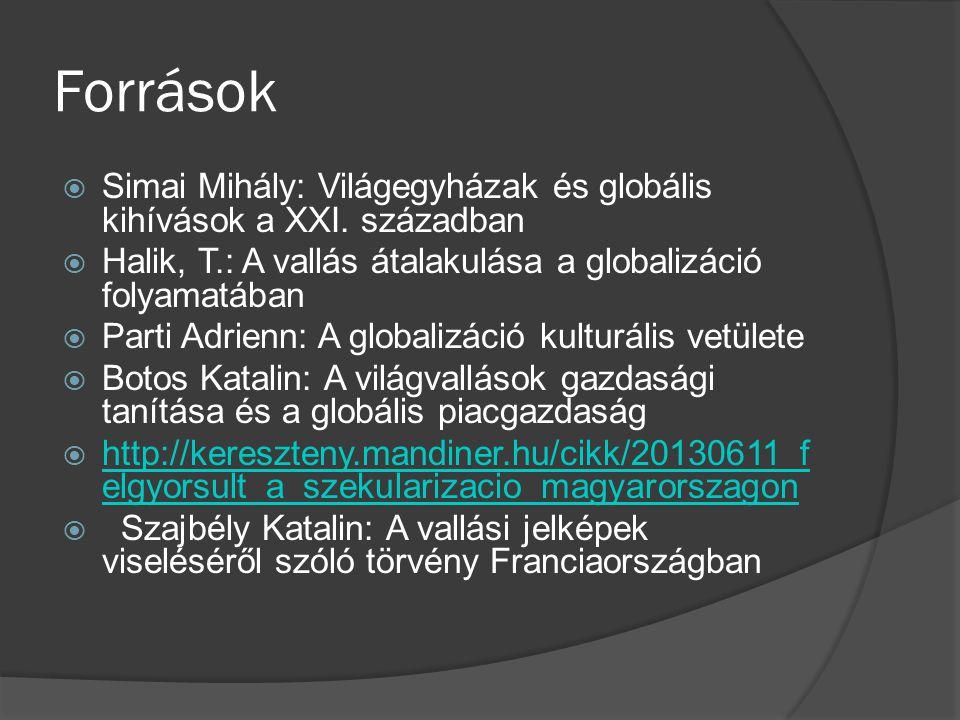 Források Simai Mihály: Világegyházak és globális kihívások a XXI. században. Halik, T.: A vallás átalakulása a globalizáció folyamatában.