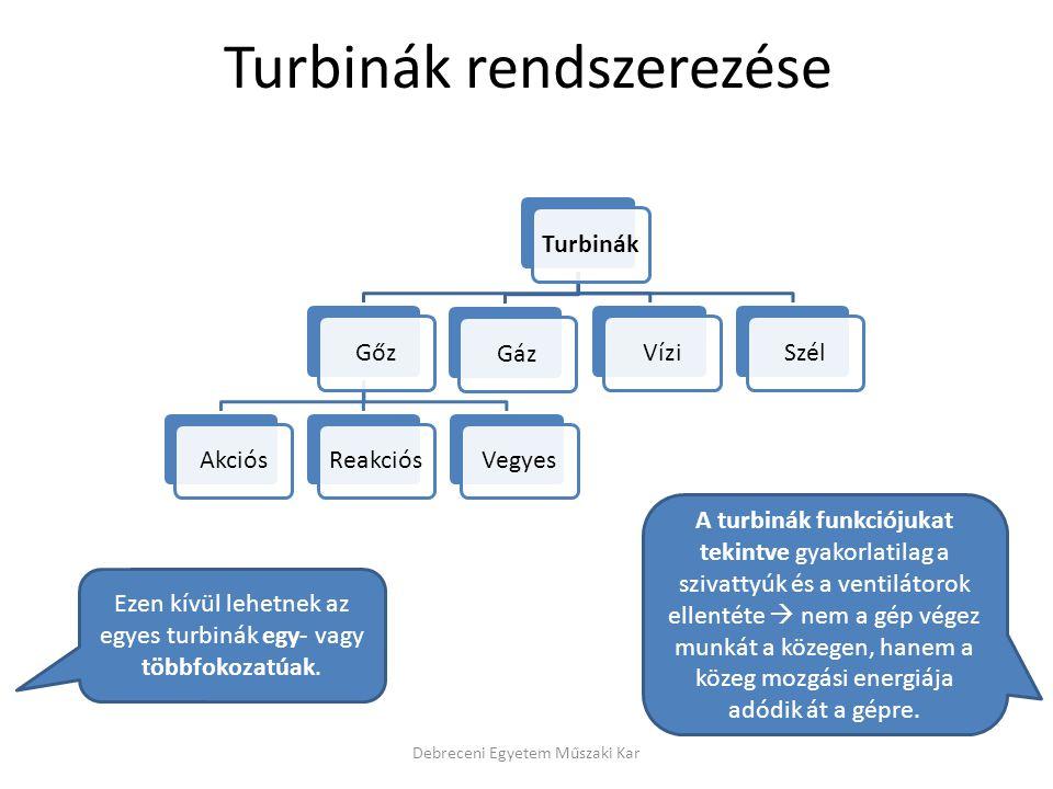 Turbinák rendszerezése