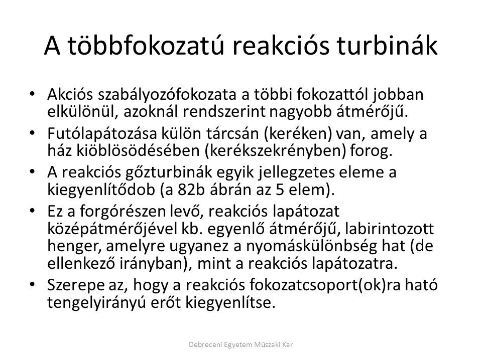 A többfokozatú reakciós turbinák