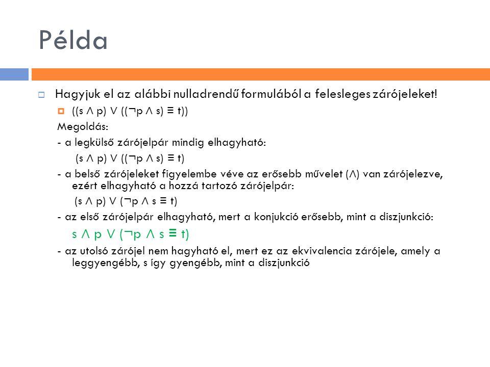 Példa Hagyjuk el az alábbi nulladrendű formulából a felesleges zárójeleket! ((s ∧ p) ∨ ((¬p ∧ s) ≡ t))
