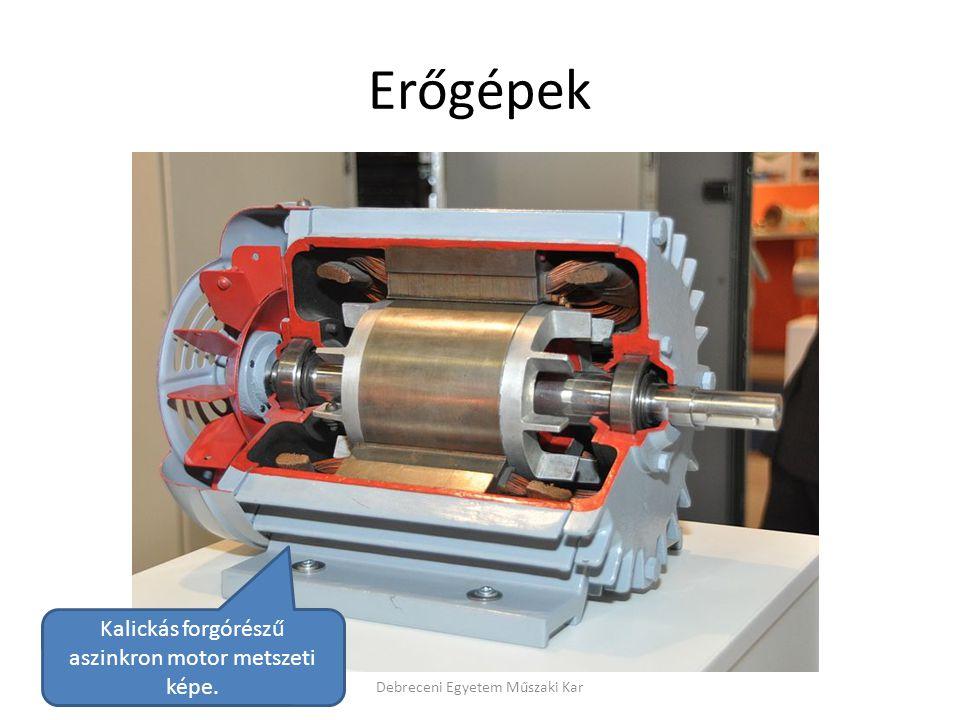 Erőgépek Kalickás forgórészű aszinkron motor metszeti képe.